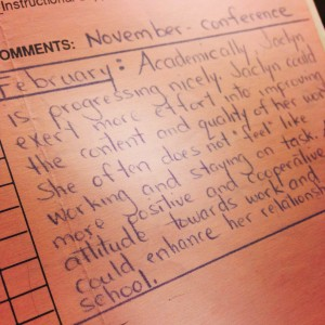 Second grade report card from an ADHD girl